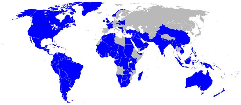 Aliados em sua máxima extensão, no auge da Segunda Guerra.