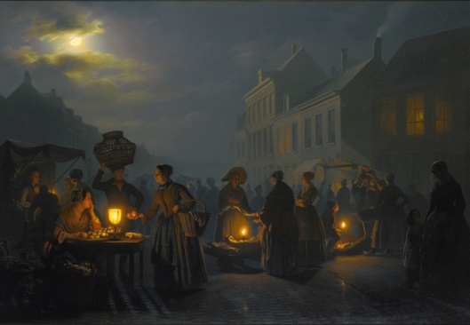 Petrus van Schendel - mercado ao atardecer